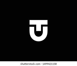 Creative and Minimalist Letter TU UT Logo Design Icon Editable in Vector Format in Black and White Color