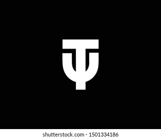 Creative and Minimalist Letter UT TU Logo Design Icon, Editable in Vector Format in Black and White Color