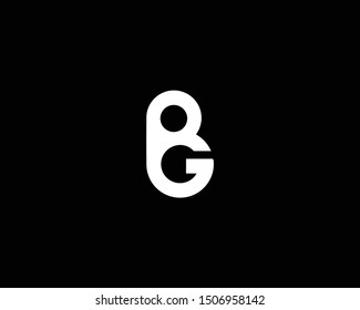 Creative and Minimalist Logo Design of Letter BG GB, Editable in Vector Format in Black and White Color