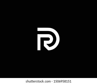 Creative and Minimalist Logo Design of Letter RD DR PD DP, Editable in Vector Format in Black and White Color