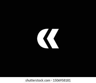 Creative and Minimalist Logo Design of Letter CC CK KC, Editable in Vector Format in Black and White Color