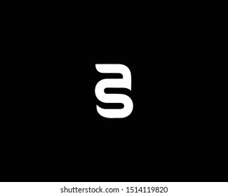 Creative and Minimalist Logo Design of Letter AS SA, Editable in Vector Format in Black and White Color