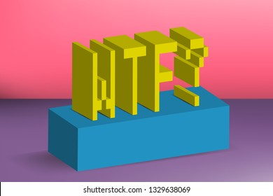Creative minimalistic banner, background and cover. WTF. Sign, slang, sticker, lettering. Social media, blogging, web. 8-Bit, 3d pixel, Lego style. Trendy and aesthetics graphics. Eps10 Vector.
