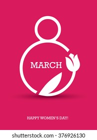 Creative minimalistic design for international women's day on the 8th of march with number 8 and tulip symbol on red background