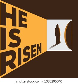 Creative minimalistic Holy week easter poster. Easter christian vector invitation to an Easter Sunday service with text He is risen, Jesus silhouette and rolled away from the tomb stone of Calvary