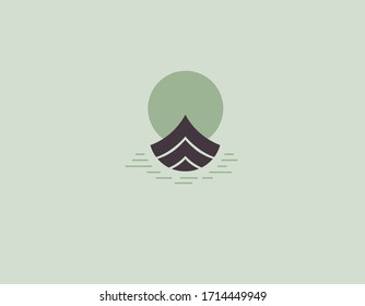 Creative minimalistic logo icon boat in the water at sunset.