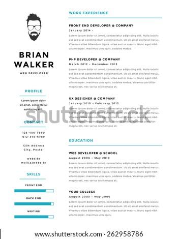 creative minimalistic personal vector resume cv stock vector