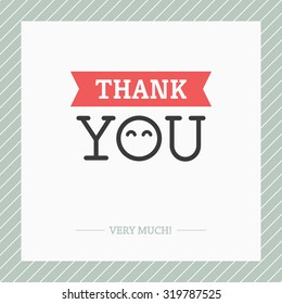 Creative minimalistic Thank You card with O like abstract face with cute happy eyes