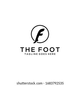 Creative modern abstract F foot sign logo design template.
