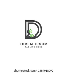 Creative and modern abstract letter D logo vector design. Icon eco character of leaf concept template
