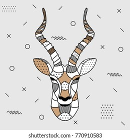 Creative modern animal illustration with geometric print. T-Shirt Design & Printing, clothes, bags, posters, invitations, cards, leaflets etc. Vector illustration hand drawn. Antelope