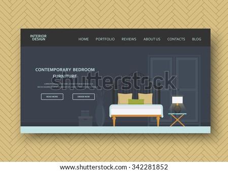 Creative Modern Bedroom Interior Comfort Furniture Stock Vector - Modern-bedroom-furniture-creative