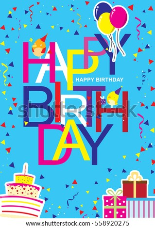 Creative Modern Birthday Greeting Card With Cool And Artistic Font Style Happy Wish