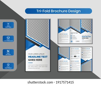 Creative Modern Blue Color Corporate Trifold Brochure Design Template