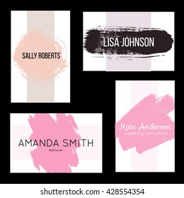 Creative modern business card, invitation templates with hand drawn textures. Abstract design with brush elements. For stylist, makeup artist, photographer. Stylish fashionable elegant templates.