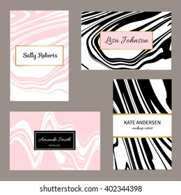 Creative modern business cards, invitations set with abstract marble texture. Vector design concept. For stylist, makeup artist, photographer. Stylish elegant business cards template. Vector.