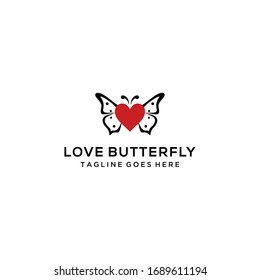 Creative modern Butterfly logo design with heart sign template vector illustration.