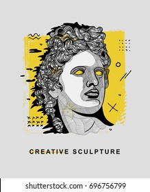 Creative modern classical Sculpture. Apollo. T-Shirt Design & Printing, clothes, bags, posters, invitations, cards, leaflets etc. Vector illustration hand drawn.