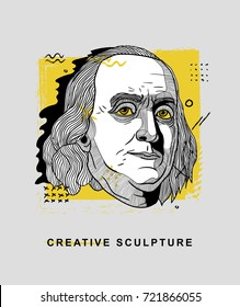Creative modern classical Sculpture. Benjamin Franklin. T-Shirt Design & Printing, clothes, bags, posters, invitations, cards, leaflets etc. Vector illustration hand drawn.