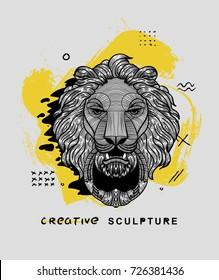 Creative modern classical Sculpture. Lion. T-Shirt Design & Printing, clothes, bags, posters, invitations, cards, leaflets etc. Vector illustration hand drawn.