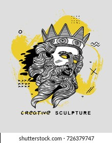 Creative modern classical Sculpture. Poseidon. T-Shirt Design & Printing, clothes, bags, posters, invitations, cards, leaflets etc. Vector illustration hand drawn.