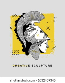 Creative modern classical Sculpture. T-Shirt Design & Printing, clothes, bags, posters, invitations, cards, leaflets etc. Vector illustration hand drawn. Athena the ancient Greek goddess of wisdom.