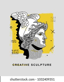 Creative modern classical Sculpture. T-Shirt Design & Printing, clothes, bags, posters, invitations, cards, leaflets etc. Vector illustration hand drawn. Hermes / Mercury