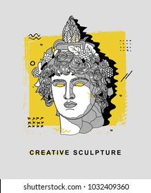 Creative modern classical Sculpture. T-Shirt Design & Printing, clothes, bags, posters, invitations, cards, leaflets etc. Vector illustration hand drawn. Dionysus or Bacchus.