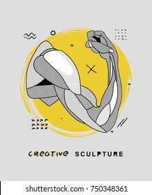 Creative modern classical Sculpture. T-Shirt Design & Printing, clothes, bags, posters, invitations, cards, leaflets etc. Vector illustration hand drawn. Plaster statue of a human hand with anatomical
