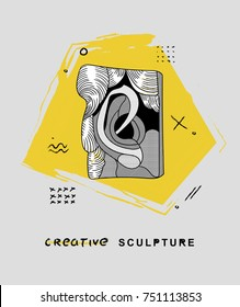 Creative modern classical Sculpture. T-Shirt Design & Printing, clothes, bags, posters, invitations, cards, leaflets etc. Vector illustration hand drawn. Plaster fragment of the head and face of David