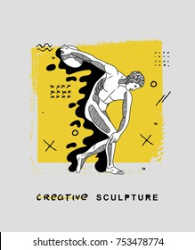 Creative modern classical Sculpture. T-Shirt Design & Printing, clothes, bags, posters, invitations, cards, leaflets etc. Vector illustration hand drawn. The Discobolus of Myron