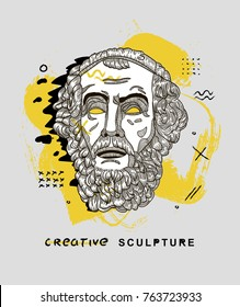 Creative modern classical Sculpture. T-Shirt Design & Printing, clothes, bags, posters, invitations, cards, leaflets etc. Vector illustration hand drawn. Homer
