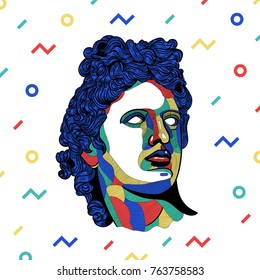 Creative modern classical Sculpture. T-Shirt Design & Printing, clothes, bags, posters, invitations, cards, leaflets etc. Vector illustration hand drawn. Apollo. Colorful mosaic style.