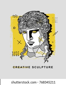 Creative modern classical Sculpture. T-Shirt Design & Printing, clothes, bags, posters, invitations, cards, leaflets etc. Vector illustration hand drawn. Dionysus