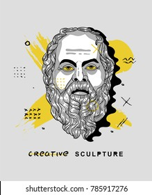 Creative modern classical Sculpture. T-Shirt Design & Printing, clothes, bags, posters, invitations, cards, leaflets etc. Vector illustration hand drawn. Socrates