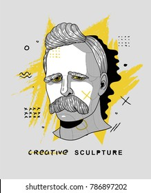 Creative modern classical Sculpture. T-Shirt Design & Printing, clothes, bags, posters, invitations, cards, leaflets etc. Vector illustration hand drawn. Friedrich Wilhelm Nietzsche