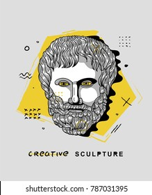 Creative modern classical Sculpture. T-Shirt Design & Printing, clothes, bags, posters, invitations, cards, leaflets etc. Vector illustration hand drawn. Aristotle