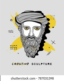 Creative modern classical Sculpture. T-Shirt Design & Printing, clothes, bags, posters, invitations, cards, leaflets etc. Vector illustration hand drawn. Pythagoras