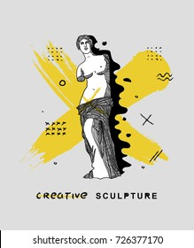 Creative modern classical Sculpture. Venus (APHRODITE). T-Shirt Design & Printing, clothes, bags, posters, invitations, cards, leaflets etc. Vector illustration hand drawn.