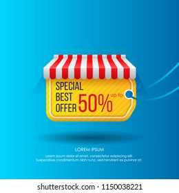 Creative modern design of advertisement with tag showing best offer of sales under striped tent on vivid blue background