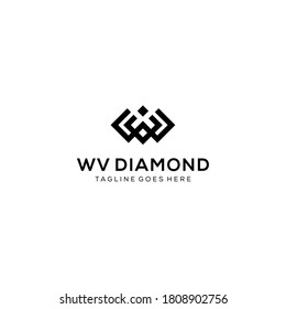 Creative modern diamond with W,V sign. logo design