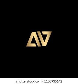 Creative Modern Elegant Trendy Unique Artistic Black and Gold color AV initial based letter icon Logo Design