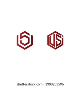 Creative modern elegant trendy unique artistic red and white color US VS V S initial based letter icon logo.