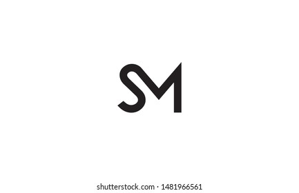 Creative modern elegant trendy unique artistic black and white color MS SM M S initial based letter icon logo.