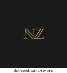 Creative modern elegant trendy unique artistic black and golden color NZ ZN N Z initial based letter icon logo.