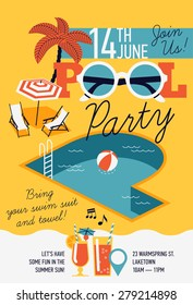Creative modern flat design invitation on pool party with P letter shaped swimming pool, parasol umbrella, beach chairs and sample text