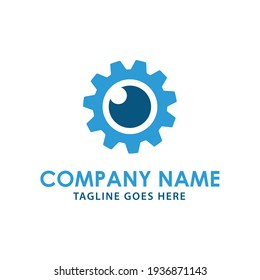 Creative modern gear logo with lens photography icon vector sign industrial