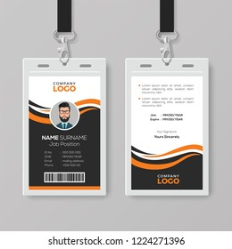 Creative Modern ID Card Template with Orange Details