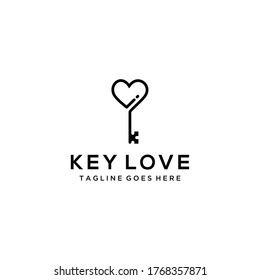 Creative modern key with love logo icon vector template
