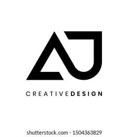 Creative modern letter AJ logo design vector. Abstract letter AJ infinity shape black illustration